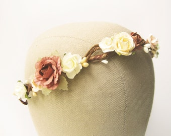Flower crown, Rustic wedding hair accessories, Bridal headpiece, Floral headband, Ivory Brown - HONEYCAKE
