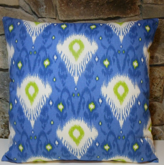 Bright Blue Decorative Pillow : Bright Blue Ikat Pillow Cover//Throw Pillow//20 inch Pillow