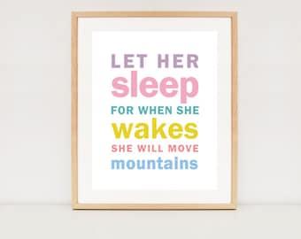 Let her sleep printable art  -  INSTANT DOWNLOAD - Wall art prin - Baby girls nursery wall art