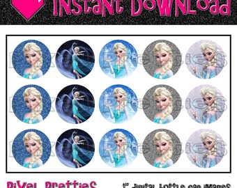 """Elsa Frozen Inspired 1"""" Bottle Cap Images - HIGH RESOLUTION - Stickers - Hair Bow Centers - Magnets - INSTANT download"""