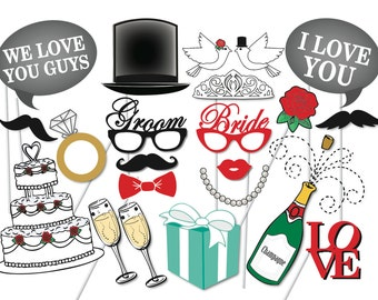 Wedding Photo booth Props Set - 21 Piece PRINTABLE - Wedding, engagement party, Bridal Shower,Photobooth Props