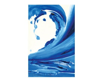 Blue and white wave Kauai, Hawaii beach surf art metal print of abstract acrylic painting in cobalt & ultramarine by fine artist Donia Lilly