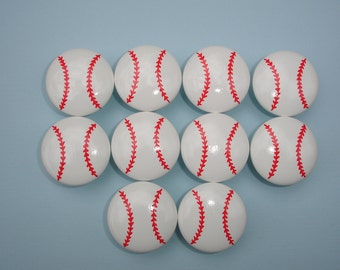 Set of 10 Hand Painted Baseball Dresser Drawer Knobs