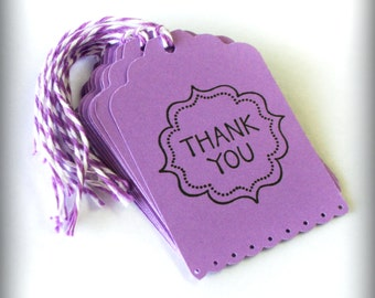 Thank You Purple Tag Handmade Set 10 Wedding Wish Tree Merchandise Tags gift