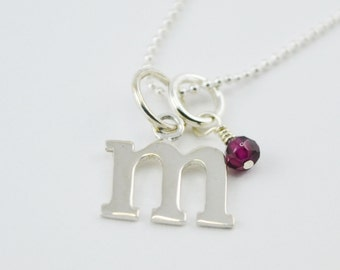 Custom Initial Sterling Silver Necklace with Birthstone