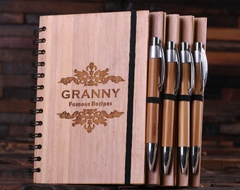 Engraved Customized Bamboo Spiral Notebook Guest Book and Pen Personalized Monogram Birthday or Graduation Gift (024296)
