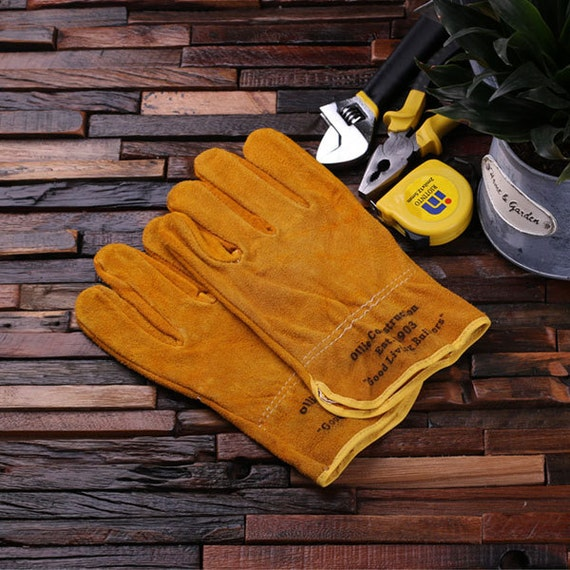 Personalized leather suede gardening construction worker for Gardening gifts for men