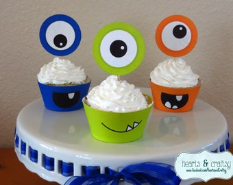Monster Party Cupcakes - Monster Birthday Cupcake Toppers & Wrappers - Little Monster Birthday - Halloween - Print Your Own - FILE to PRINT