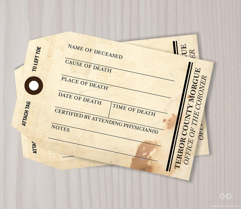 Morgue Toe Tag Halloween Invitation Blank Printable Adult
