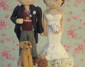 Personalised Handmade Clay Wedding Cake Topper, customized bespoke toppers - pet dog & rabbits.