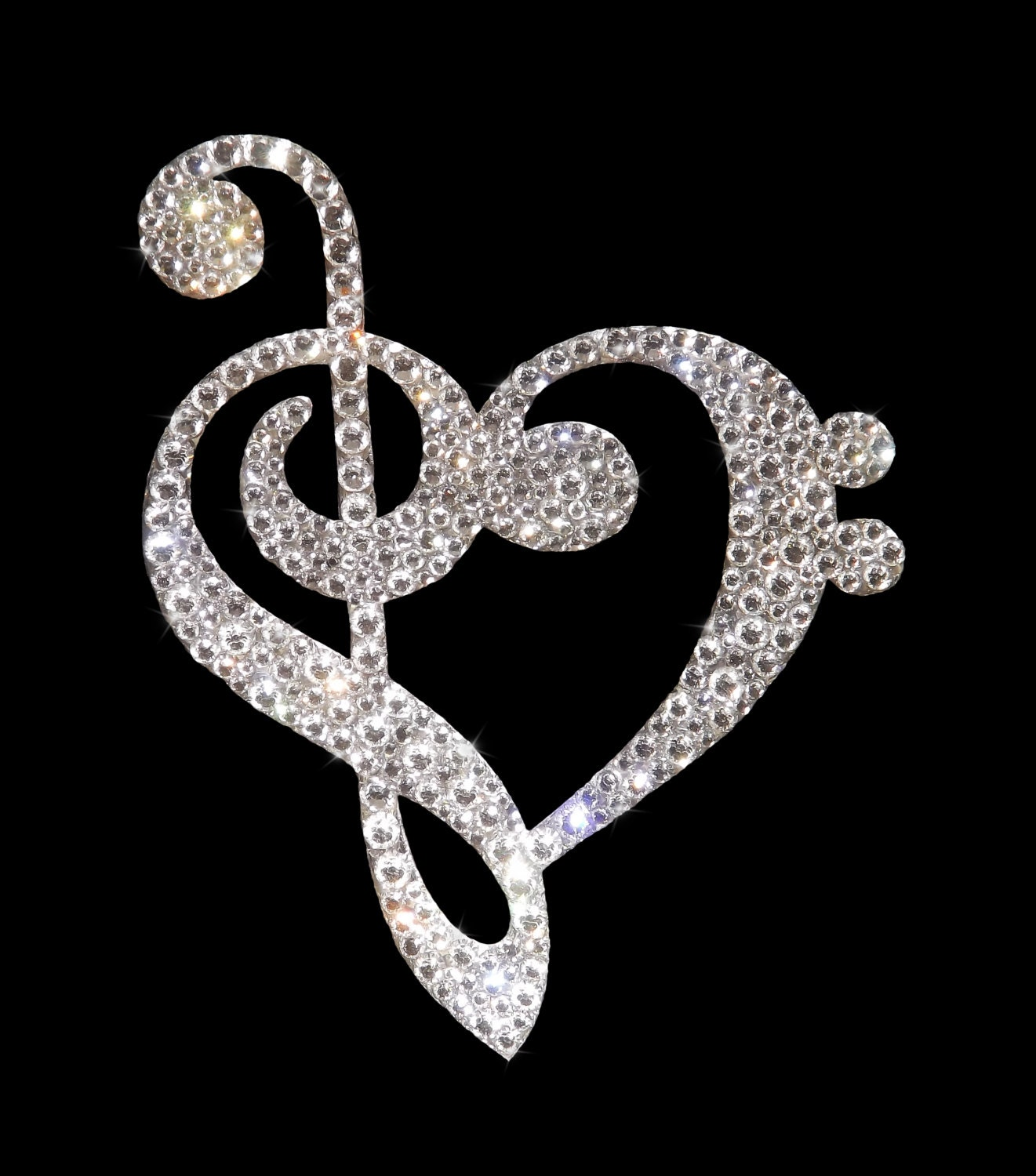 Swarovski Crystal Music Note Heart Cake Topper by