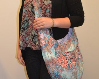 Reversible crossbody cross body blue, red, gold floral print boho slouchy hobo bag