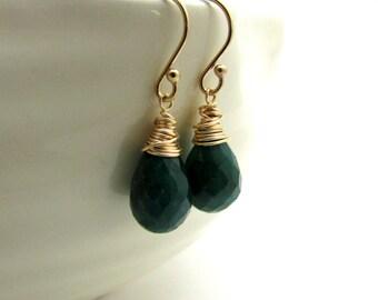 Genuine emerald earrings, May birthstone jewelry, emerald birthstone, green drop earrings, emerald jewelry, 14k gold fill gemstone earrings