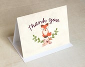 Baby Fox Thank You Cards - Folded Thank You Cards - Baby Shower Thank You Card