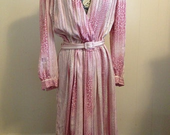Pink 1980s Printed Dress