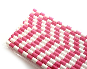 Hot Pink Horizontal Stripe Paper Straws (25) - Party Paper Straws, Drinking Straws