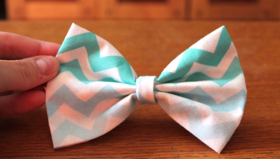 Blue Ombre Chevron Handmade Hair Bow/Bow Tie