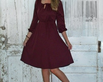 Feelin wein burgundy maroon blous on kleid runde ballerina