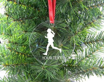 Personalized Custom Female Runner Clear Acrylic Christmas Tree Ornament