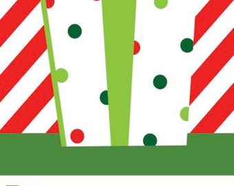 Red Stripe with Polka Dot Present Holiday Gift Tag