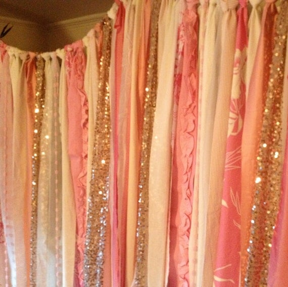 Rose Gold Sequin with Party Pop'n Pink & Ivory Backdrop Garland ...