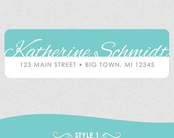 Personalized Return Address Labels // Fancy Name with Color Block
