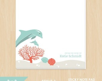 Personalized Sticky Note // Dolphin Ocean Scene with Name