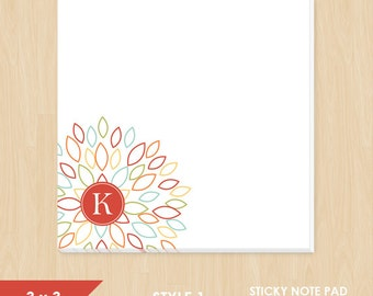 Personalized Sticky Note // Colorful Blooming Blossom with Monogram Initial // S100-5