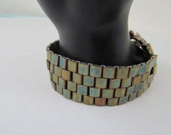 Green/gold  beaded bracelet, tila  bracelet, beaded bracelet, Peyote stitch  bracelet,handmade