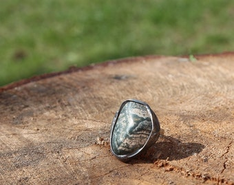 Big large green white Jasper stone ring, statement ring, Engagement ring, coctail ring, adjustable ring