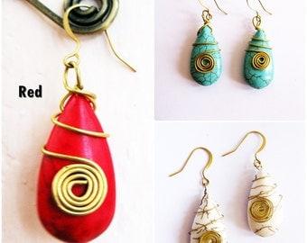 Stone Dangle Earring 'Dew Drop' Brass Wire Wrap, Thailand Handmade Jewelry. (JE1018)