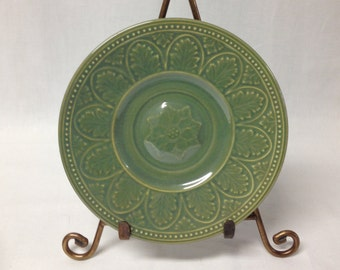 Vintage Coventry Stoneware Acanthus Sage Green Saucer