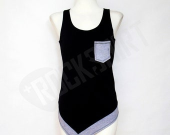 Unique long tank top with gray bottom and pocket