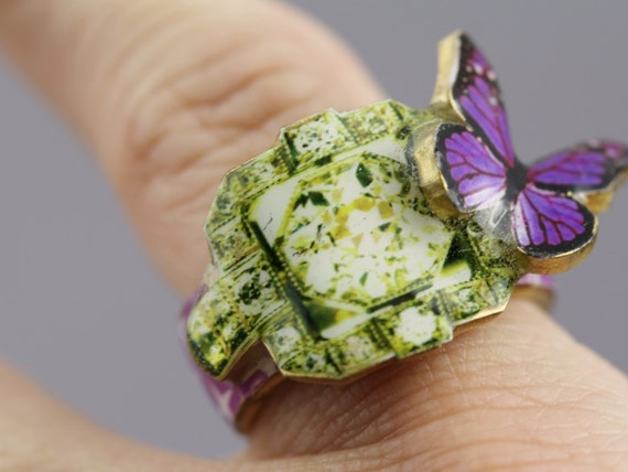 Geometric Butterfly Shrink Art Ring - Green & Purple Large Feminine Romantic Statement Jewelry with Fake Diamond Design