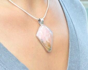 Pink Peruvian Opal Pendant // Opal Jewelry // Sterling Silver // Village Silversmith