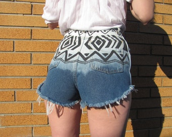 Size 4-5 Reclaimed Denim Aztec Bleached Shorts