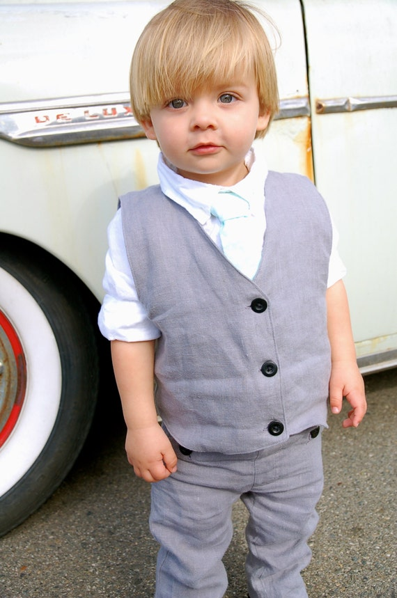 Boys gray linen pants and vest.  Boys ring bearer outfit or easter outfit.  Toddler boys special occasion.