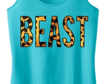 BEAST Leopard Tank Top, Workout Clothes, Motivational Workout Tank, Workout Shirt, Gym Tank, Gym Clothing