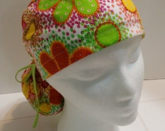Colorful Flowers Funky and Fun Ponytail Tie Scrub Hat