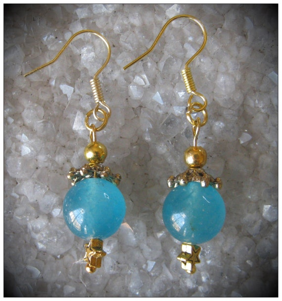 Handmade Gold Hook Earrings with Blue Topaz & Star by IreneDesign2011