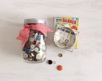 A Kerr Pint Canning Jar of Assorted Buttons