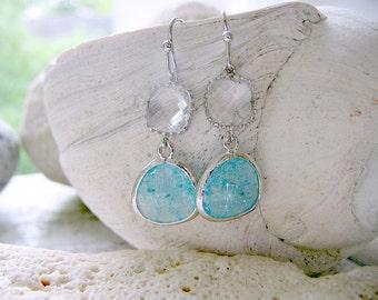 Aquamarine Earrings Crystal Earrings Bridesmaid Earring Sets march birthstone Aquamarine Jewelry beach Wedding bridesmaid sets aquamarine