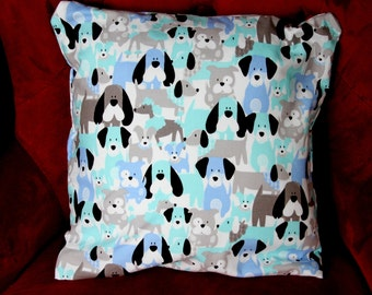 """Small decorative pillow 12""""x 12"""" with dog design for you or your pet."""