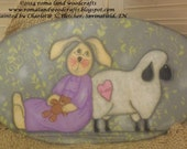 Hand Painted Sign, Olde Friends, with a Bunny holding a teddy bear and leaning on a sheep with a heart that says Friends