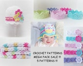 CROCHET PATTERN Mega Pack!! Baby Crochet Pattern Owl hat pattern headband pattern Crown crochet pattern Baby Blanket Pattern Usa terms No.5
