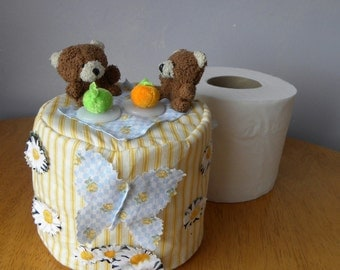 Bathroom Spare Toilet Paper Roll Blue Cover Teddy Bears Picnic