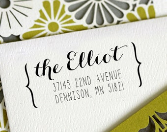 Return Address Stamp Personalized Custom Name Wedding Gift Card Handle Mounted Rubber Stamp OR Pre-inked Stamp RE733