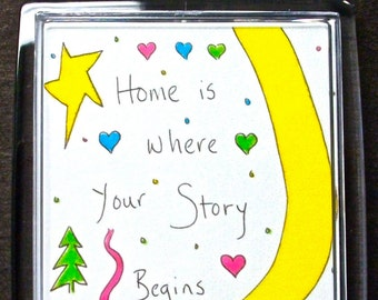"Large Key Chain ""Home Is Where Your Story Begins"" Sunny Color New Home Congratulations Hearts & Stars Timeless Wisdom Friend Auto Keys Gift"