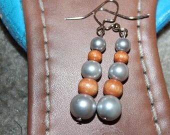 Tug Valley | Brown Wood Bead and White Pearl CreAfriq Earrings