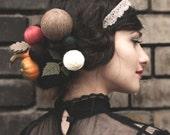 women's carnival costume -  carnival hair accessories - hairpin - hair pin set - yarn ball - wool ball hair pins - knitted hair accessories